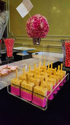 Rice Krispie bars on a stick! Baby Girl party,  black, pink, white theme