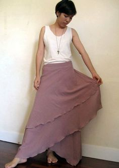 Boho hippie gypsy two layers cotton circle wrap skirt S by siam2u