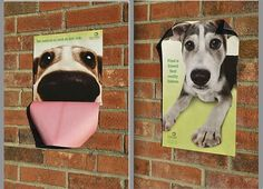 Adorable 3-D outdoor posters via the Humane Society of Greenville, South Carolina. | The Best Pet Adoption Ads