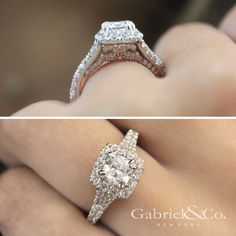 Gabriel & Co.-Voted #1 Most Preferred Fine Jewelry and Bridal Brand. 14k White/Rose Gold Cushion Cut Halo  Engagement Ring