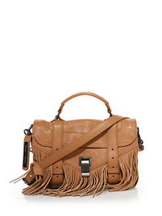 1595$ Proenza Schouler - PS1 Tiny Fringed Leather Satchel