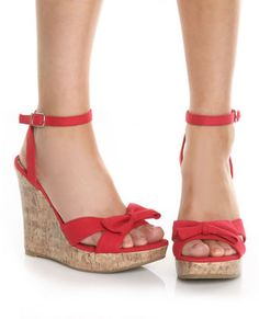 CityClassified Garage Red Canvas Dainty Bow Wedge Sandals