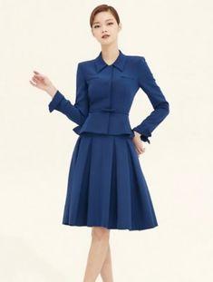Trabajo traje de falda de la primavera de 2019 de negocios de moda traje de  las mujeres de manga larga chaqueta + falda una línea falda azul conjunto y  ... c44608a8e3b7
