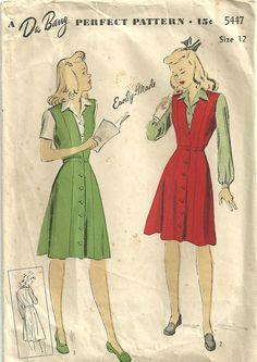 DuBarry 5447 Vintage 40s Sewing Pattern Jumper by studioGpatterns, $9.50