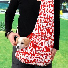 New Pet Sling-style carrier Dog Cat sling Bag -Red and White Printing Small Size… Pet Dogs, Dog Cat, Pets, Dog Carrier Bag, Backpack Pattern, Creation Couture, Training Your Dog, Small Bags, Puppies