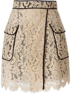 MSGM floral lace piped skirt
