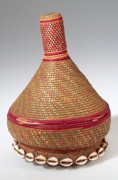 Africa | Basket with lid from the Amhara people of Ethiopia | Plant fiber, hide, cowrie shells and leather | ca. mid 20th century