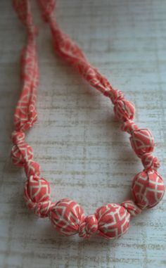 Coral Fabric Nursing Necklace with Wooden Beads by RubyRebels, $9.99