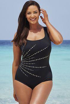 08114c3fc0 Longitude Embellishment Fan Tank Swimsuit One Piece Swimwear