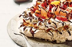 TURRON (NOUGAT) PAVLOVA. Turron is a nougat made with nuts and honey – delish with meringue!