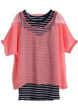 Pink Short Sleeve Striped Chiffon Two Piece Blouse $21.13