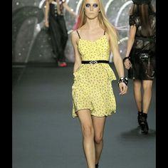 """ANNA SUI DECO TREES SILK yellow peplum mini dress Yellow print silk Crepe de Chine, backless dress, with beaded spaghetti straps. Model is Deco trees. Peplum panel at waist. Very flattering. Size 10, measurements, one way, item lying flat, approx. 31"""" bust, 30 """" waist, 37"""" hips, 21""""length. Fully lined in soft yellow acetate. Dry clean only! In like new condition. Anna Sui Dresses Backless"""