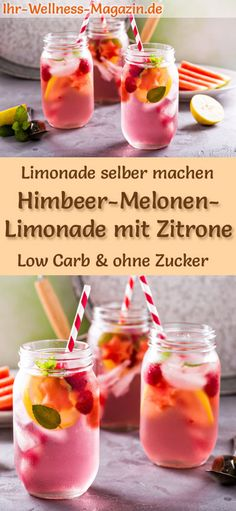 Himbeer-Melonen-Limonade mit Zitrone selber machen: Low-Carb-Rezept für selbstg… Make raspberry-melon lemonade with lemon yourself: low-carb recipe for homemade lemonade without sugar – healthy, low-calorie, quick and easy … free it Yourself Melon Lemonade, Strawberry Basil Lemonade, Flavored Lemonade, Homemade Lemonade Recipes, Blueberry Lemonade, Drinks Alcoholicas, Drinks Alcohol Recipes, Non Alcoholic Drinks, Summer Drinks