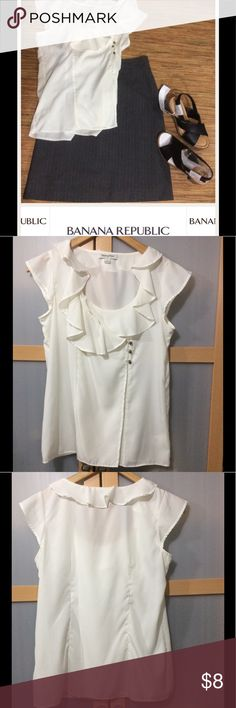 BR blouse Light Cream color, ruffled around neck,. Very light  and airy. No stains in great condition Banana Republic Tops Blouses