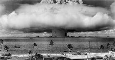 "Jacobsen's book reads, ""The Baker bomb at Operation Crossroads, July 25, 1946, was 21 kilotons, one and a half times more powerful than the bomb dropped on Hiroshima. Baker's underwater fireball produced a 'chimney' of radioactive water 6,000 feet tall and 2,000 feet wide."""