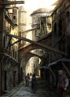 WATERDEEP  CITY STREETS Seedy Section of City  Buildings are close here... and generally run down. There are no street lanterns... at least none lit. The air smells of the burnt offal many folk use. There is a soft chorus of noises... coughing, whimpering, hushed voices, dripping liquid and creatures scratching about.
