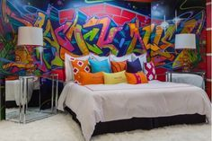 Love this room design (white floors+colourful walls&accents)