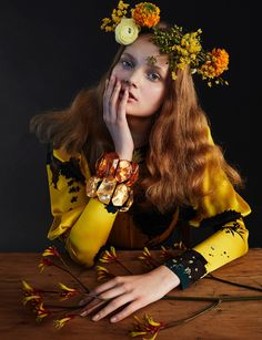 Valou Weemering models Dries Van Noten printed silk blouse and Monies bracelets
