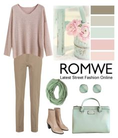 """""""Romwe Apricot Sweater"""" by dezaval ❤ liked on Polyvore featuring Kate Spade, Accessorize, Topshop and Joseph"""