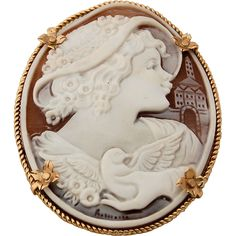 14k Gold Sardonyx Shell Cameo Brooch Pendant Hand-carved Artist Signed Girl in Hat with Bird HUGE