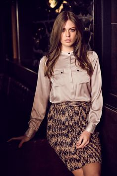 Lenox stretch silk shirt with metal buttons & Minnesota pencil skirt with pockets.