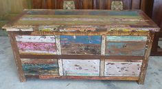 Bali Furniture Recycled Boat Retro Sideboard TV Unit Console 6 Chest of Drawers