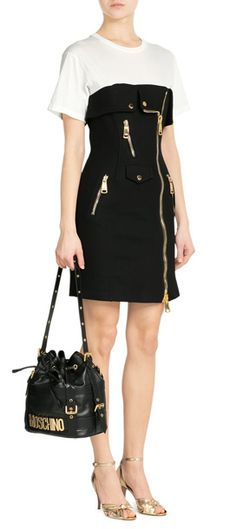 Finished with a chunky asymmetric zip, Moschino's black and white cotton pique dress is a tough style with sultry attitude #Stylebop