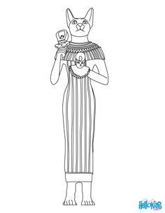 GODS AND GODDESSES of Ancient Egypt coloring pages - BASTET egyptian cat goddess online