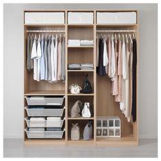IKEA - PAX Wardrobe white stained oak effect Bedroom Closet Design, Wardrobe Design, Closet Designs, Bedroom Storage, Bedroom Decor, Bedroom Sets, Wardrobe Ideas, Ikea Pax Wardrobe, Wardrobe Storage