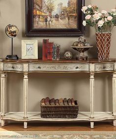 Look at this Antique Silver & Brown Three-Drawer Console Table on #zulily today!