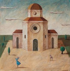 Cattedrale Acrylic painting, MDF Size: 28.5 × 28.5 × 0.3 cm