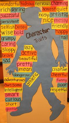 Bulletin board that lists character traits.