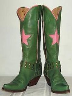 fornarina green with huge pink stars cowboy boots