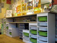 Crafty Storage--i like the second long shelf under the desk!