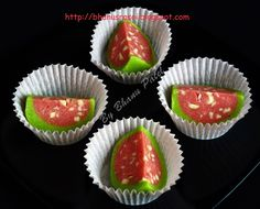 I like those sweets which resembles fruits &in different shapes &colours.so I like this watermelon sweet. Indian Dessert Recipes, Indian Sweets, Sweets Recipes, Indian Recipes, Ethnic Recipes, Diwali Snacks, Diwali Food, Diwali Recipes, Jamun Recipe