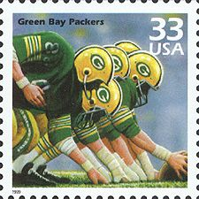 Back when stamps used to be 33 cents in the United States and the Packers got their own stamp (circa 1999-2000)