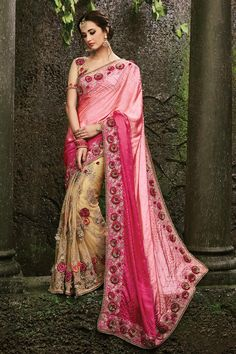 Make an enthralling appearance on any festive occasion or function by draping into this Pink-Beige Pure Satin with Heavy Rose Border Bridal-Wedding Sare. Buy Now :- https://goo.gl/NXimzX Cash On Delivery & Free Shipping only in India.  For Other Query Just Whatsapp Us on +91-9512150402