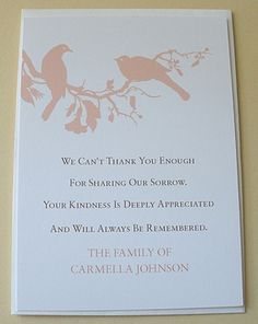 Sympathy Thank You Card Printable - After Funeral Note choose your ...
