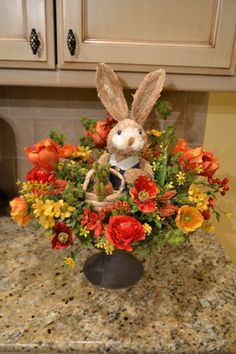 Spring Bunny With Basket Arrangement by kristenscreations on Etsy