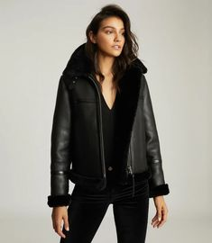 Margot Black Reversible Shearling Aviator Jacket – REISS Shearling Jacket, Leather Jacket, Aviator Jackets, T Shirt And Jeans, Reiss, Black 7, S Models, Everyday Look, Aviation