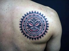 Discover a light of inspiration with these 70 sun tattoo designs for men. From Japanese rising sun ideas to sleeves with clouds, get your sunglasses ready!Back Of Shoulder Tribal Sun Shoulder Male Tattoo Sun Tattoo Tribal, Tribal Shoulder Tattoos, Tribal Tattoos For Men, Mens Shoulder Tattoo, Tribal Sun, Tribal Style, Cool Back Tattoos, Upper Back Tattoos, Back Tattoos For Guys