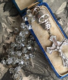 Antique Memento Mori Skull & Cross on Crystal Bead Rosary Cabinet of Curiosites    eBay