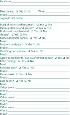 reception checklists