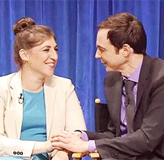 """ourkidswouldbemartians: """" As Sheldon and Amy or as Jim and Mayim, they both look at each other the same way and it's simply beautiful. Gifs credits : amyfarrahs !! """""""