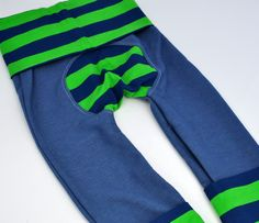Zookatoosh - Jegging - Green and Blue Stripe - Size 2 - Ready to Ship by Zookaboo on Etsy