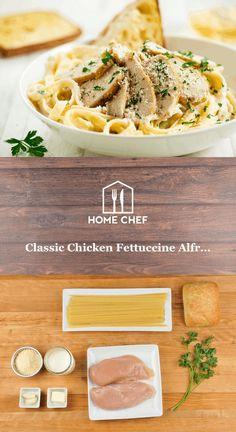 Classic Chicken Fettuccine Alfredo with ciabatta garlic bread - Dinner - Pasta Chef Recipes, Lunch Recipes, Pasta Recipes, Italian Recipes, Chicken Recipes, Cooking Recipes, Healthy Recipes, Copycat Recipes, Cooking Ideas