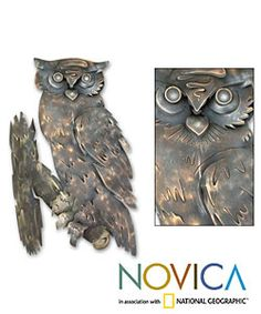 @Overstock - Cast in iron, this wall adornment is a unique addition to your home decor Cast iron decoration is forged and painted with acrylic and enamel paints An original wall ornament of rustic allurehttp://www.overstock.com/Worldstock-Fair-Trade/Curious-Owl-Iron-Wall-Adornment-Mexico/2598577/product.html?CID=214117 $42.11
