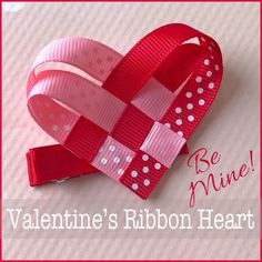 DIY Valentine's Day ribbon heart craft. This sweet little embellishment can be used as a hair-clip as shown, or attached to a hand-made Valentine's Day card. Perfect kid's craft! Easy and free instructions on the blog.