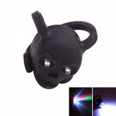 2 LED Cute Skull Safety Warning Bicycle Light Black