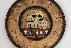 Halloween Decoration Hand Painted Plate Primitive Style Spooky